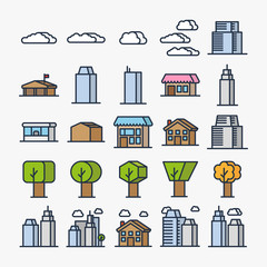 City Elements Street Buildings Houses And Trees Minimal Colorful Flat Line Stroke Icon Pictogram Symbol Illustratio