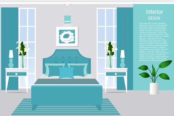 Interior of a bedroom. Flat style illustration