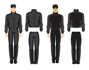 Vector illustration of worker man in uniform isolated on white background. Various turns man's figure. Front view and side view.