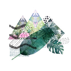Abstract geometric poster. Summer design. Hand drawn illustration