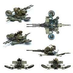 Soviet anti-aircraft twin autocannon ZU-23-2. 3D-renders
