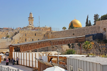 Mughrabi Bridge from the Wailing Wall to the Temple Mount  in Jerusalem