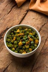 Indian masala fried bhindi or bhendi or Okra or ladyfinger curry or sabji, selective focus