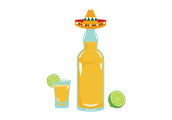 Tequila vector. Bottle of tequila on a white background