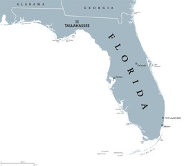 Florida political map with capital Tallahassee. State in the southeastern region of the United States, bordered by the Gulf of Mexico. Gray illustration on white background. English labeling. Vector.