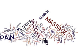 MASSAGE FOR HIP PAIN Text Background Word Cloud Concept