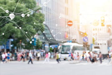 Big data , iot , artificial intelligence (ai) technology every where , smart city technology concept. Neural networks connect atoms and blur city people cross street background. 3d Rendering.