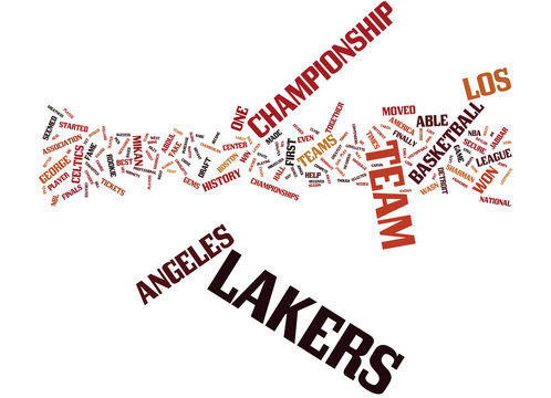 LOS ANGELES LAKERS HISTORY Text Background Word Cloud Concept