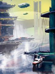 Spaceships cruising over futuristic cityscape