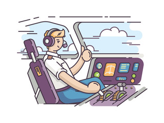 Airplane pilot in cockpit