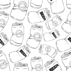 Seamless Pattern With Broken Soft Drink Cans on White Background