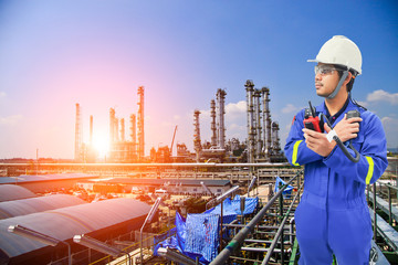 Working engineer at petrochemical oil and gas refinery