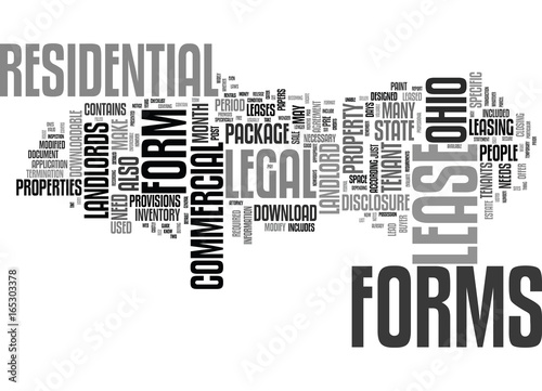 LEGAL FORMS FOR LANDLORDS IN OHIO Text Background Word Cloud Concept - Ohio legal forms