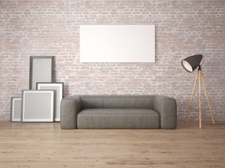 Mock up the living room with a large leather sofa and a stylish floor lamp.
