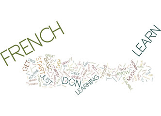 LEARN FRENCH THE EASY WAY Text Background Word Cloud Concept