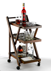 folding trolley serving alcoholic drinks, on white background