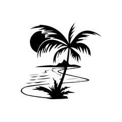 sea palm sun mountain silhouette black