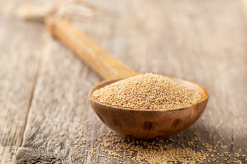 amaranth in a wooden spoon