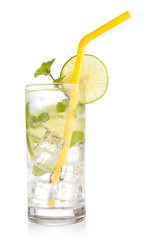 iced drink with mint and lemon soda isolated