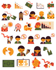Twenty Five Items Economic Crisis Problem Vector Flat Icon Business Finance