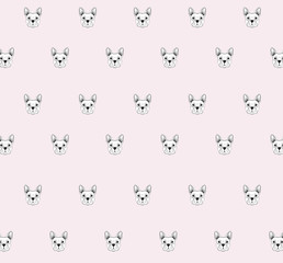 French bulldog head isolated on white background. line tattoo design animal head. Vector illustration. wallpaper background.