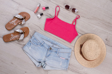Beach summer clothes.