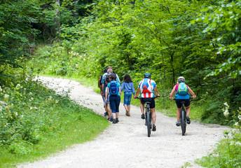 Wanderer und Mountainbiker gemeinsam auf Forststraße