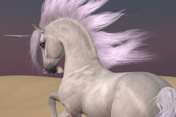 Arabian Unicorn Dreams - A Unicorn is a creature of myth and fantasy and has cloven hooves, forehead horn and a beard.
