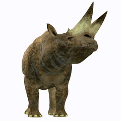 Arsinoitherium Mammal on White - Arsinoitherium was a herbivorous rhinoceros-like mammal that lived in Africa in the Early Oligocene Period.
