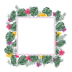 Tropical vector frame with leafs and flowers
