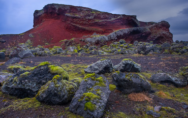 Red lava field outside Reykjavik, Iceland