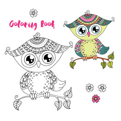 Cute colorful cartoon owl sitting on tree branch on white background