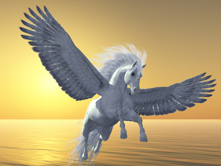 Ivory Pegasus - Pegasus is a mythical white divine horse with long flowing mane and tail rises into the sky with powerful wings beats.