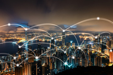 Wall Mural - Hong kong cityscape and network connection concept
