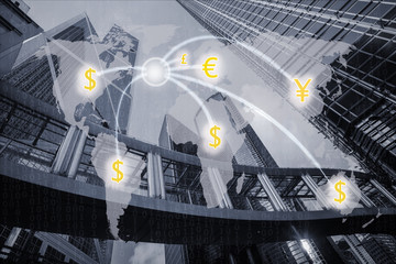 World money exchange concept with central business background