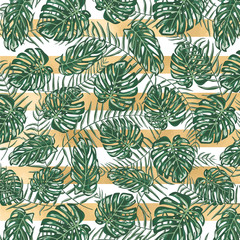 Golden stripes with monstera and plam leaves