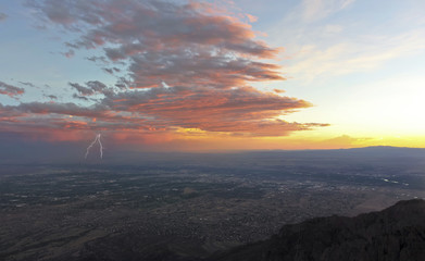 A Thunderstorm at Sunset Over Albuquerque, New Mexico