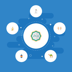 Flat Icons Pitcher, Praying Man, Palm And Other Vector Elements. Set Of Ramadan Flat Icons Symbols Also Includes Praying, Ramadan, Camel Objects.