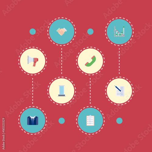 Flat Icons Handshake Diagram Contract Vector Elements Set Of Job