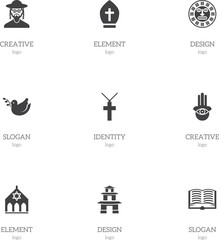 Set Of 9 Editable Faith Icons. Includes Symbols Such As Pigeon, Pope Headwear, Tribal Mask And More. Can Be Used For Web, Mobile, UI And Infographic Design.