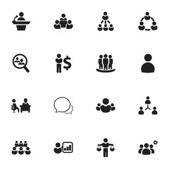Set Of 16 Editable Business Icons. Includes Symbols Such As Partnership, Finding Solution, Conversation And More. Can Be Used For Web, Mobile, UI And Infographic Design.