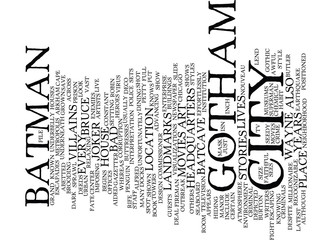 GOTHAM CITY Text Background Word Cloud Concept