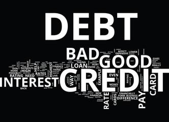 GOOD VS BAD CREDIT DEBT Text Background Word Cloud Concept
