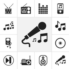 Set Of 12 Editable Sound Icons. Includes Symbols Such As Karaoke, Cassette Player, Music Phone And More. Can Be Used For Web, Mobile, UI And Infographic Design.