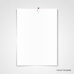 Vector template. White sheet of paper pinned to the wall.