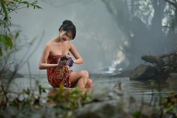Women Bathing at creek