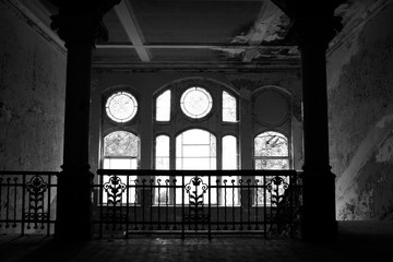 Large window in the old abandoned mansion near Berlin Germany