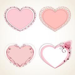 Set of vintage frames in shape of a heart. Element for design.