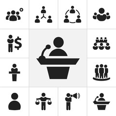 Set Of 12 Editable Business Icons. Includes Symbols Such As Speaker, Talking Man, Commander. Can Be Used For Web, Mobile, UI And Infographic Design.