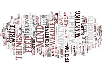 GOD WANTS YOU TO BE WEALTHY Text Background Word Cloud Concept